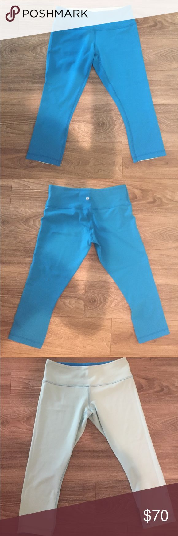 Lulu lemon crop pants Worn twice! Excellent condition. Reversible blue pants. Can be worn both ways. One side is baby blue and the other is bright blue. lululemon athletica Pants Ankle & Cropped
