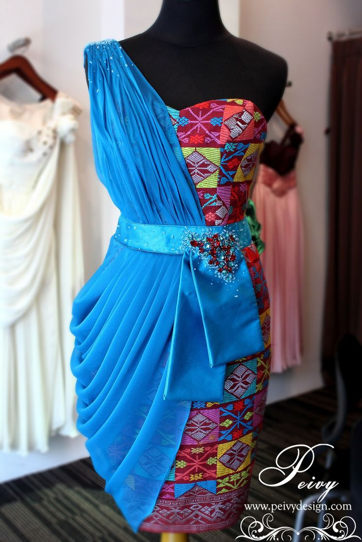 Blue Songket Combination Dress by Peivy Design