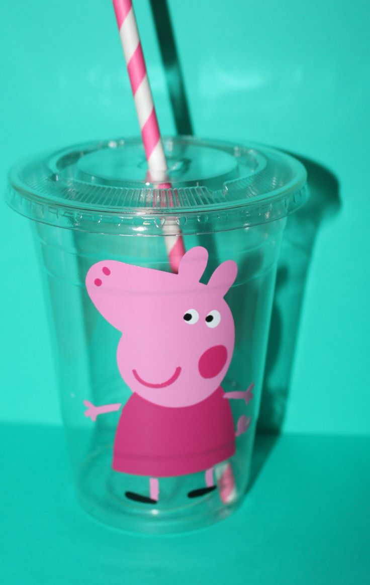 Peppa Pig Cups (could also do a couple as George with blue or green straws)