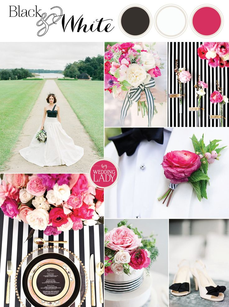 Black, White, and Fuchsia Wedding Palette |Sparkles and Stripes - Kate Spade Wedding Inspiration!