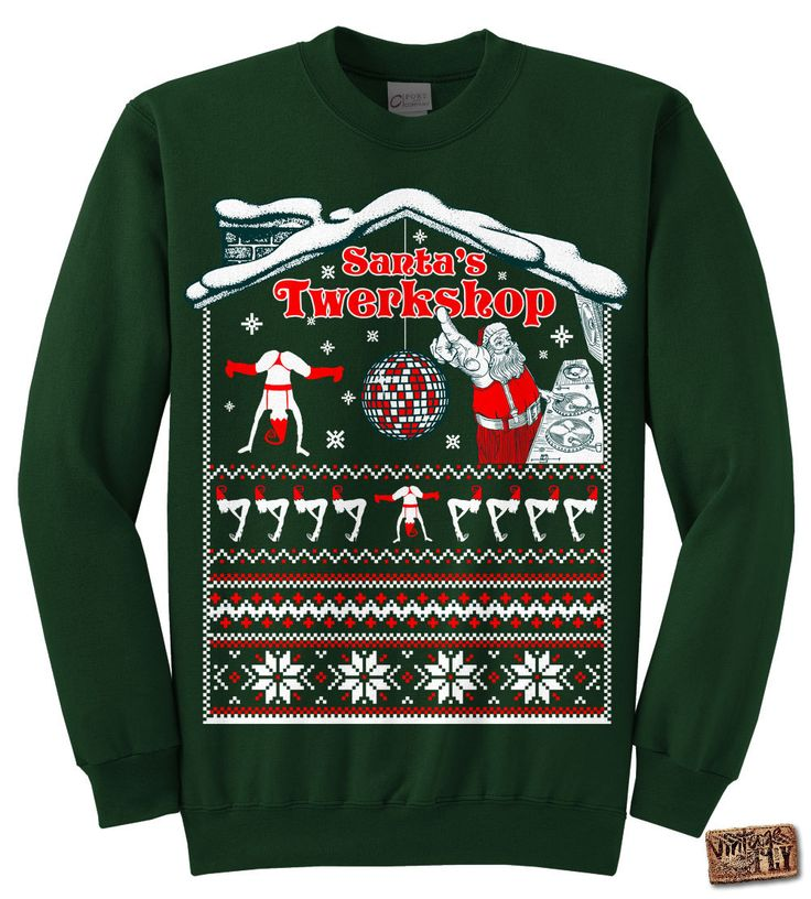 UGLY CHRISTMAS Sweater - Santa's Twerkshop Tacky Sweatshirt unisex, mens, ladies Black, Dark Green, Navy, Charcoal, Kelly s,m,l,xl, xxl, 3xl by Vintageflyclothingco on Etsy https://www.etsy.com/listing/212744954/ugly-christmas-sweater-santas-twerkshop