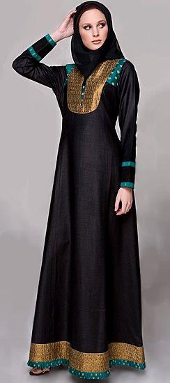 black, gold, turquoise jilbab