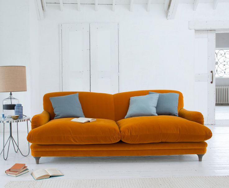 Pudding sofa in our Burnt Orange plush velvet