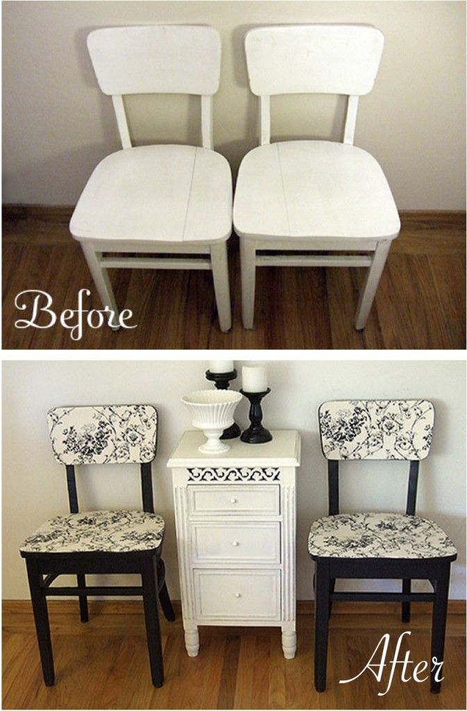Before After How To Reclaim Old Dining Chairs Diy Crafts Pinterest Furniture And