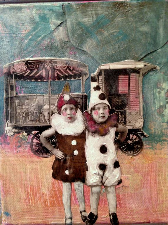 Les Pierrots Circus series vintage inspired mixed media painting by MaudstarrArt,: