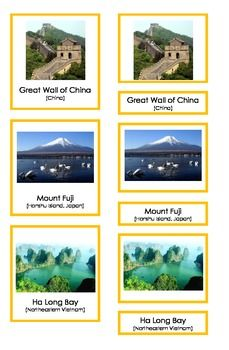 This is a pdf file containing 3 part Montessori cards. It includes 9 landmarks from China, Japan, Vietnam, the Philippines, Malaysia, Singapore, Mongolia, Nepal and India). Students can match picture cards and labels. This material is a great tool to help students learn about different places in Asia.