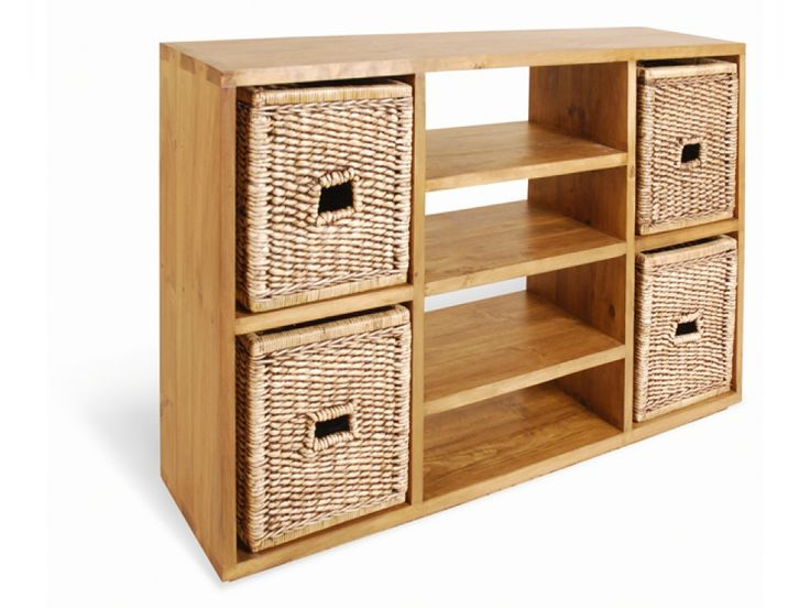 Benoit Vintage Pine Double Multi-Shelf Unit. The woven baskets give a very spring feel to them. Light wood also teams well with a cream or white room.  #FADSSpringRestyle #woven #shelves #baskets #spring