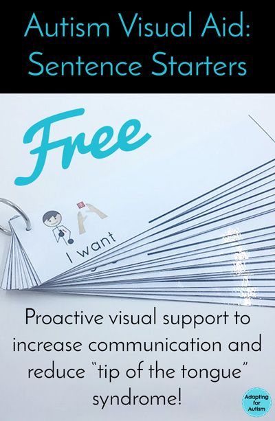 Free autism visual aid sentence starters - increase communication and decrease problem behaviors with this simple and portable visual support for your special education classroom!