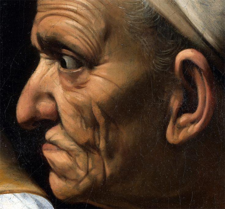 Dettaglio Vecchia in Giuditta che Taglia la Testa a Oloferne del Caravaggio