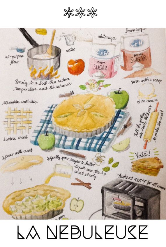 Apple pie illustration watercolor on paper digital by PlartStudio, $5.00