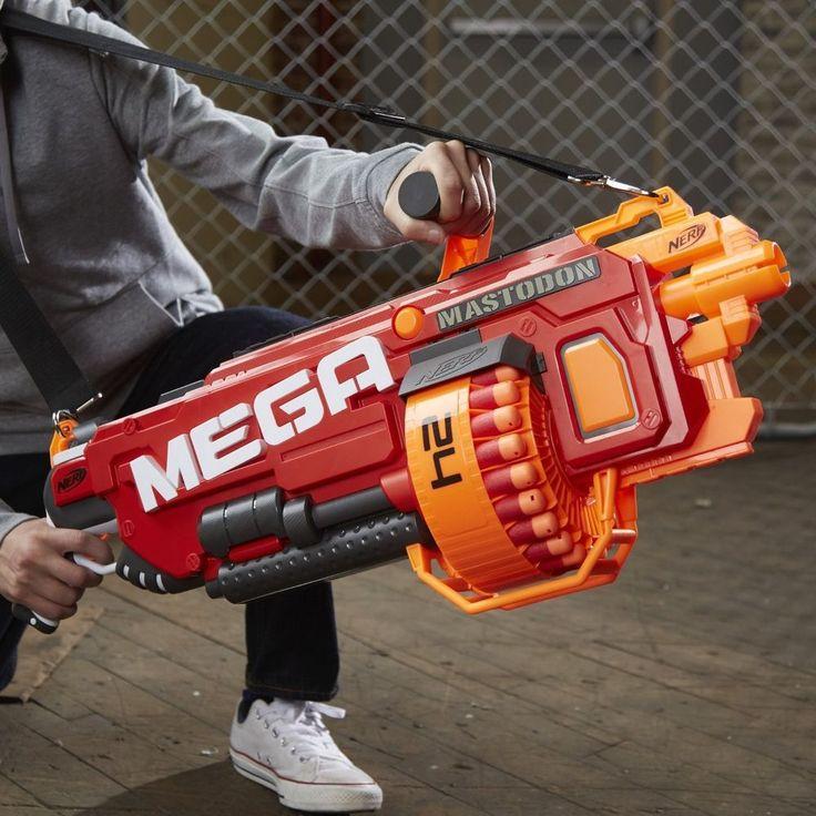 Mega NERF GUN Strike Mastodon BLASTER Kids Toy 24 Dart Motorized New #Nerf