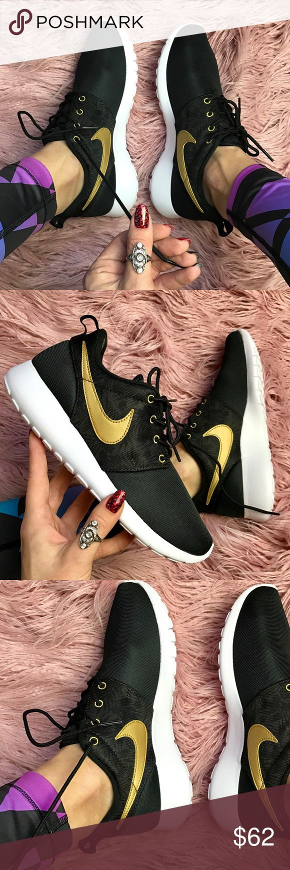 NWT Nike roshe black with  gold swoosh Brand new no box lid,price is firm!! Size 7 Y -women's 8.5 Simplicity at its finest.  The upper is made of a mix of lightweight and very breathable materials. Full-length Phylon™ midsole with a Solarsoft sockliner supplies premium comfort. The Phylon™ outsole with a Waffle®-inspired design makes for excellent traction. Nike Shoes Sneakers