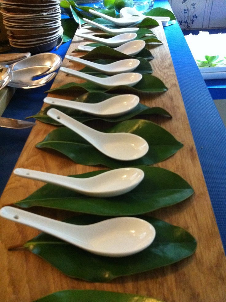 chinese spoon on magnolia leaves