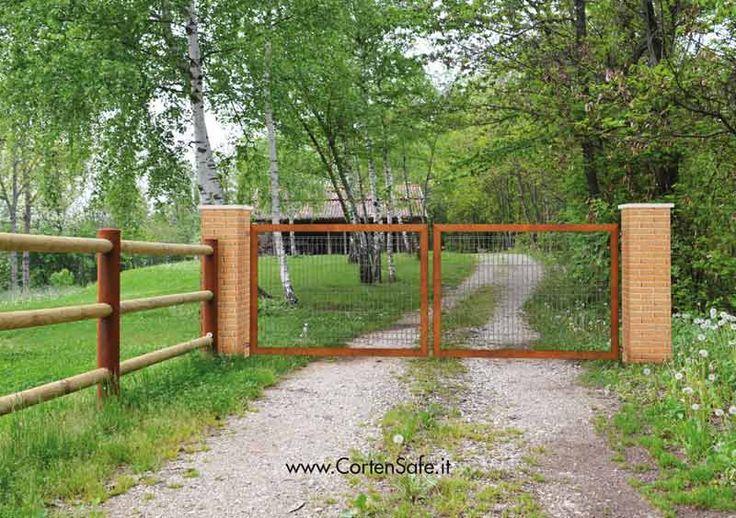 #Cancello in #corten con griglia. Modello Gaia.