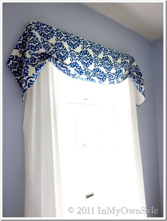 Instant No Sew Window Valance - Done with Safety pins and old earrings!  Good for splash of color and easily changeable w/ seasons