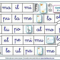 Juego de la oca para repasar la lectura de sílabas con la P, L, M