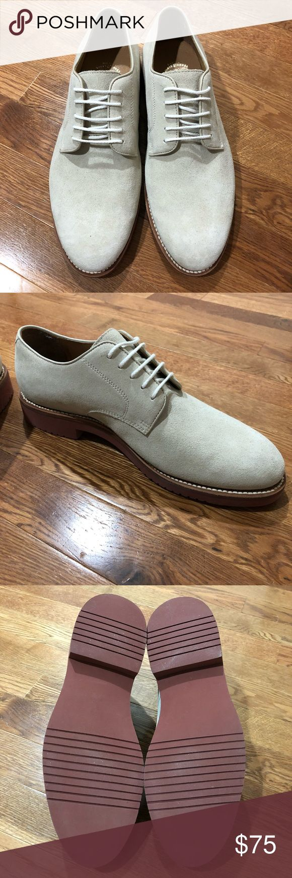 J. Crew Kenton Suede Bucks - White BRAND NEW, NEVER WORN! Shoes that effortlessly span dapper and durable: The classic silhouette is recast slightly slimmer for a more modern feel and finished with a genuine Goodyear-welt construction. That means the sole is sewn on rather than cemented, resulting in a more durable, breathable fit that only gets better with wear. Suede upper. Leather lining. Long-wearing brick EVA sole. Goodyear welt construction. Color is very light grey/white. J. Crew…