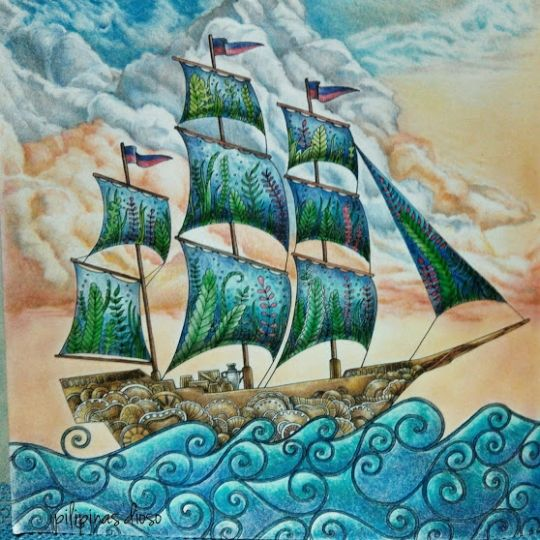 By Lost Ocean Coloring Book Johanna Basford Medium Used Colleen And Prisma Colored Pencils