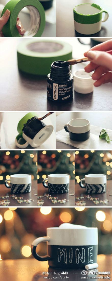 Chalkboard mugs. The same thing can be done with porcelain or oil-based paint to create a permanent pattern. I like the chevron one the best.