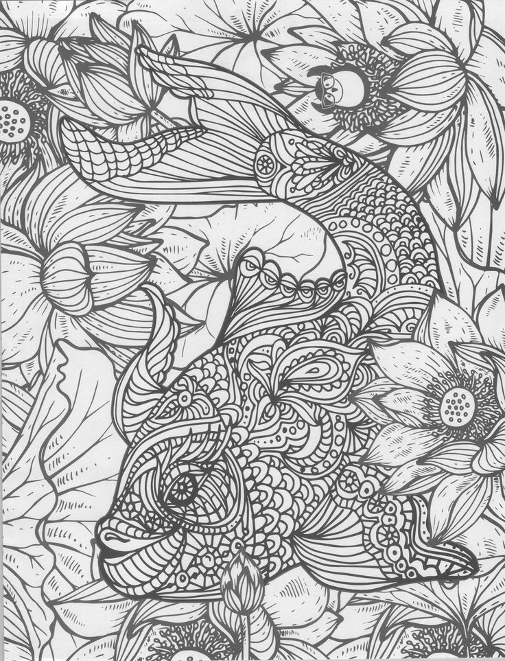 Fish Doodle Coloring Page