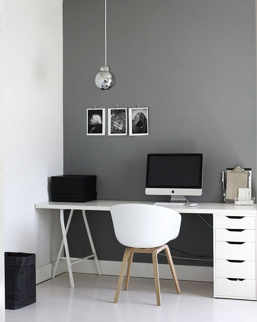 Study / home office: grey wall + silver pendant + trestle leg + white desk #modern