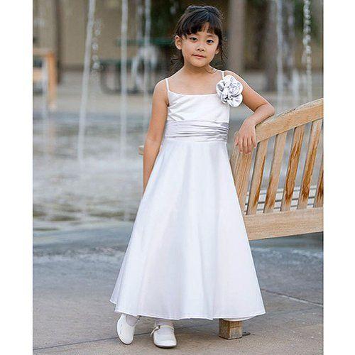 Little Girls White Sleeveless First Communion Dress 4 Kids Dream