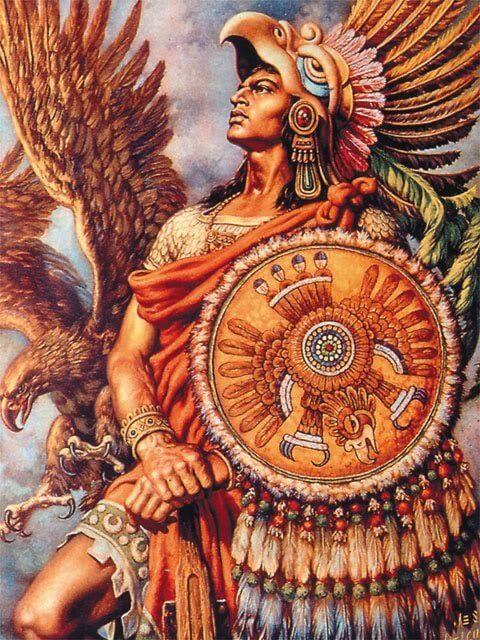 guerrero azteca junto a aguila