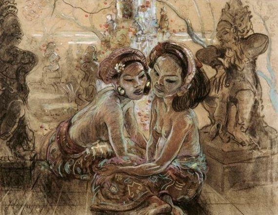 Adrien Jean Le Mayeur de Merprès - Twee Balinese Meisjes in de tuin.