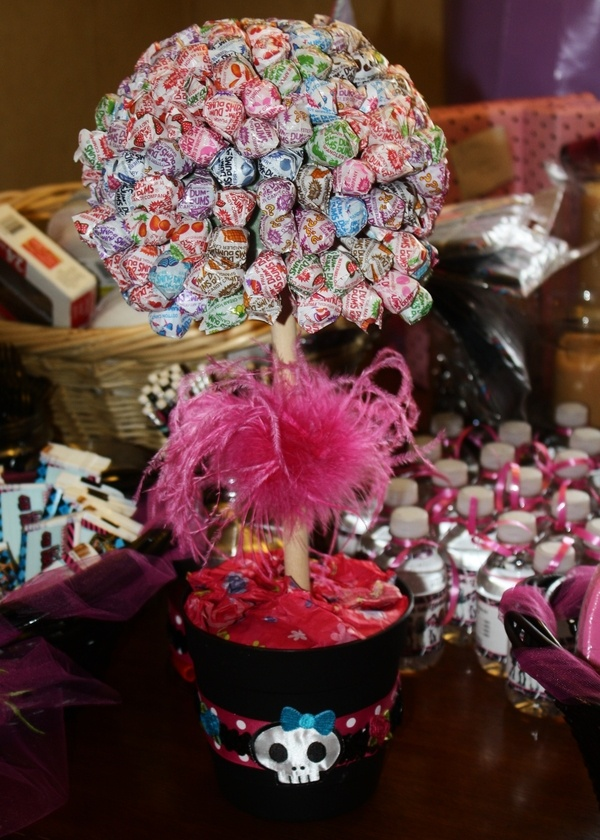 My pinterest inspired lollipop tree made in a monster high theme for my daughters birthday party! angieoquinn