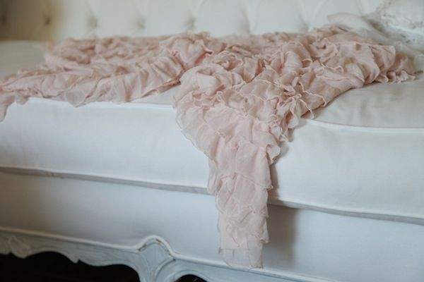 Blush Pink Ruffled Throw Bed Throws Table Clothes