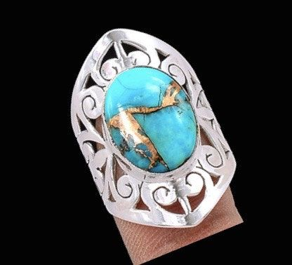 """Genuine Copper Blue Turquoise Oval Gemstone set into 925 Sterling Silver """"Jali"""" Style Statement Jewellery Ring Sz. 8.5 by Ameogem on Etsy"""