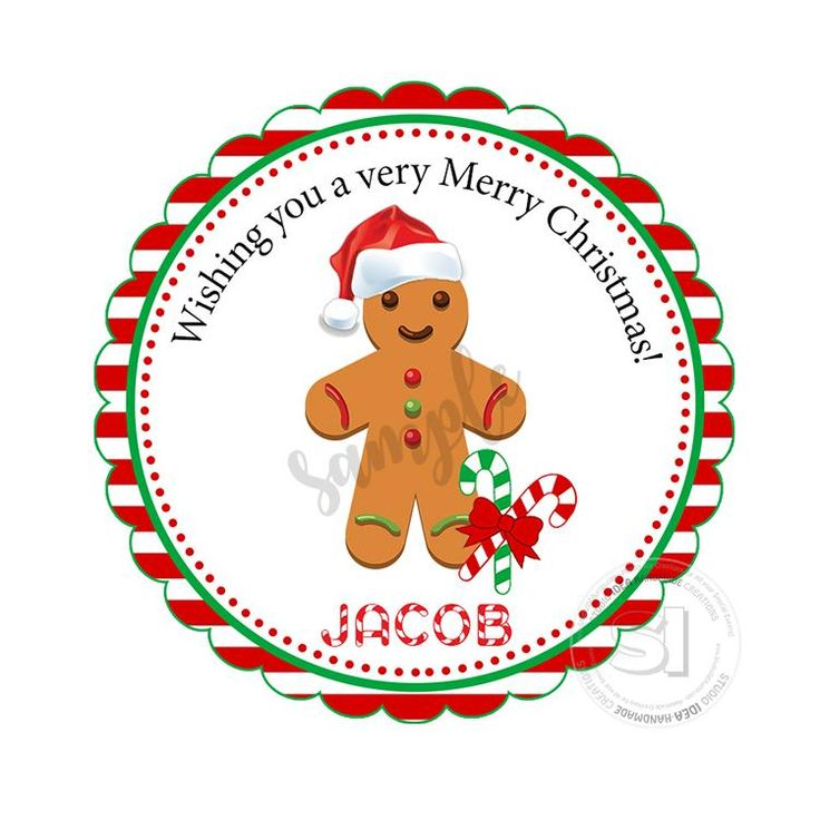 """Custom Christmas Printable 2.5'' Tags-Gingerbread Cookie Christmas Wishes Personalized Tags-DIY (You Print) 2.5"""" tags-Digital File"""