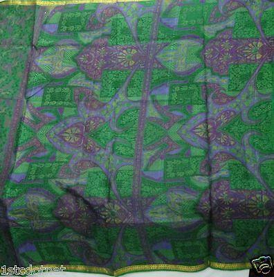 Vintage Printed 100% Pure Silk Saree 5 Yard Indian Sari Craft Fabric