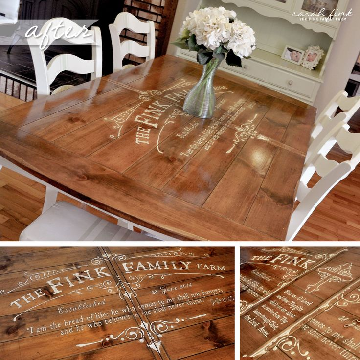 Gathering For Family Dinner Around Custom Stenciled Dining Room Table  #kitchentable, #familygatherings, #diy, #stencils