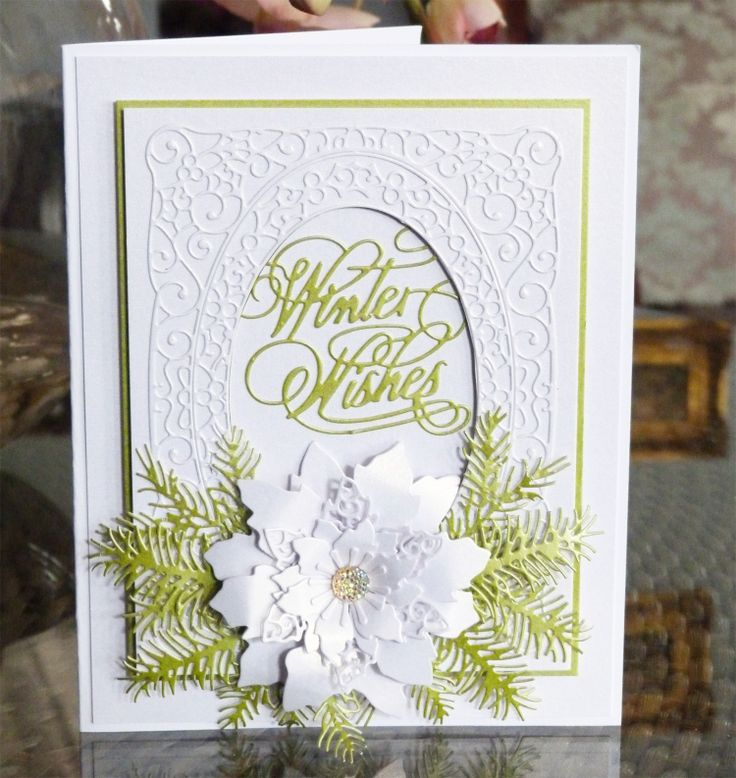 Winter Wishes (D451), Lavish Poinsettia (D452), Christmas Florals Pine (D439) www.tatteredlace.co.uk