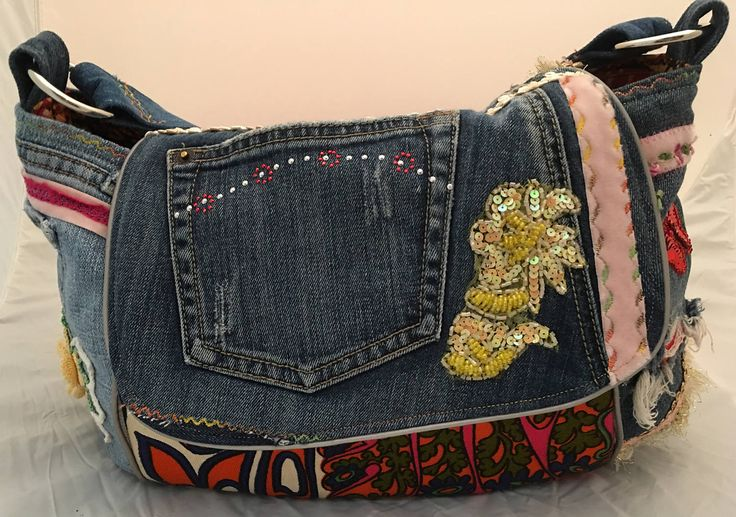 Love Me Retro 60's vintage hand bag purse upcycle jeans by ReClassifiedPurses on Etsy
