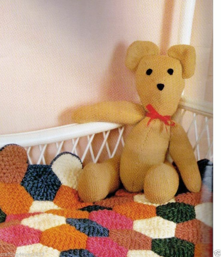 VINTAGE BOBBY BEAR TEDDY BEAR SOFT TOYS- 40 X 25 CMS TALL- 8PLY KNITTING PATTERN