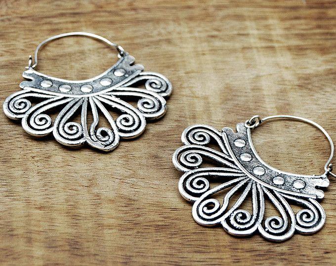Pendientes tribales, pendientes de gitana, joyas de plata aretes étnicos, Boho pendientes, joyería Tribal, India, joyería de danza del vientre
