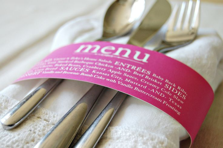 Custom Colored Menu Napkin Wrap. $1.62, via Etsy. Absolutely love this idea!