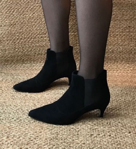 J-Crew-stylish-black-suede-low-heel-ankle-boots-UK-size-6-EU-39-US-8