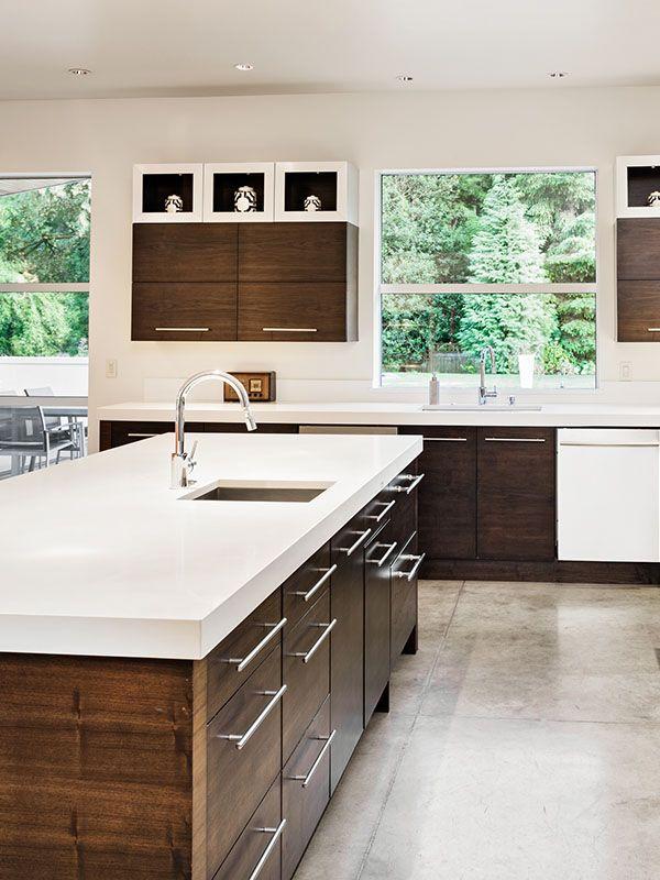 Granite Quartz Kitchen Counter Countertop Slab Finished Cabinets Cabinetry Island Mo Kitchen Construction Kitchen Concepts Unique Kitchen Countertops