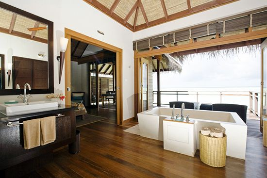 I am very partial to lovely bathrooms, I have to say... (at Lux Maldives)