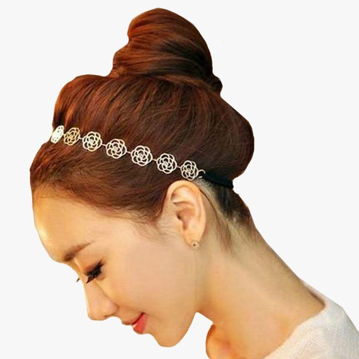 1 pcswomens modo della fascia per capelli accessori dei monili monili della catena del metallo hollow rose flower elastica dei capelli strumenti per lo styling