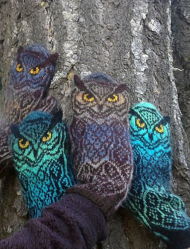 Owl mittens with knit-on ears.                                                                                                                                                                                 More