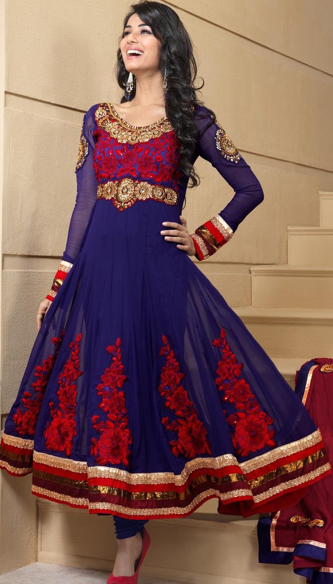 Navy Blue Faux Georgette Churidar Anarkali Suit