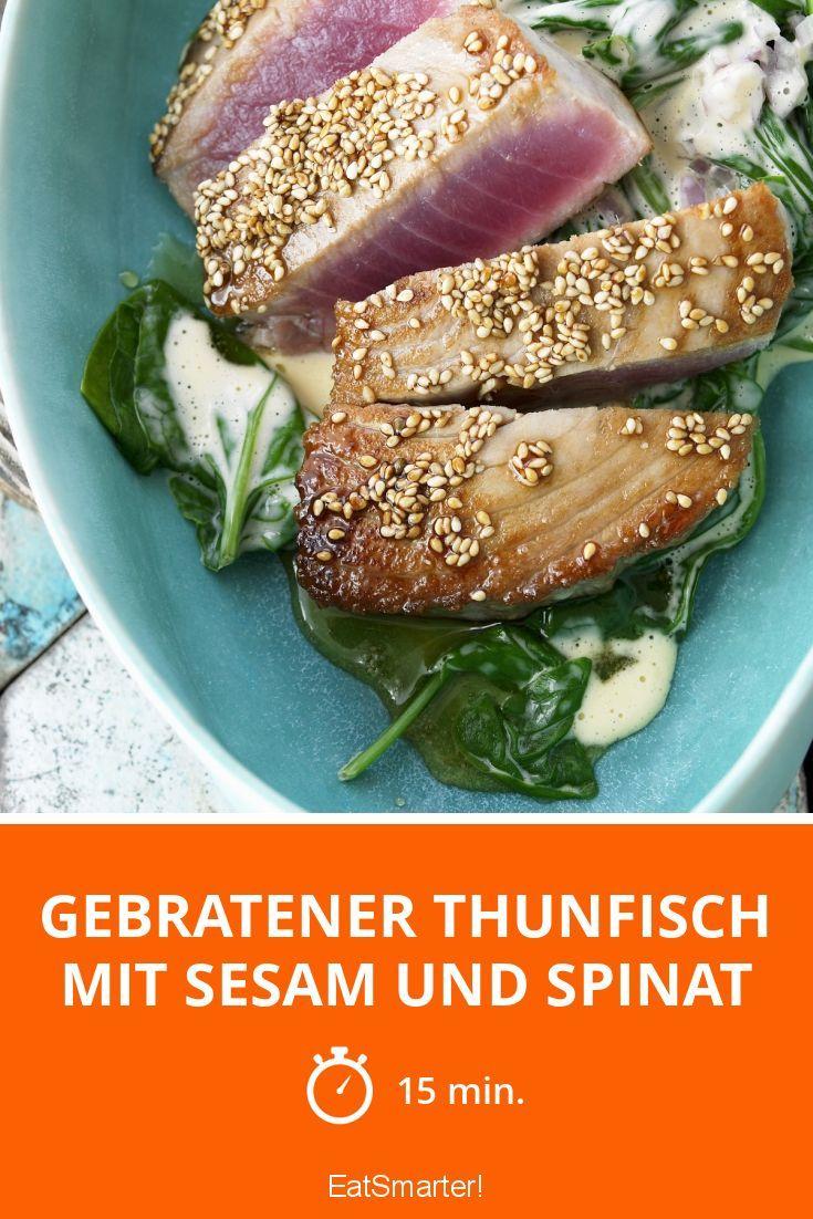 Gebratener Thunfisch mit Sesam und Spinat - smarter - Zeit: 15 Min. | eatsmarter.de