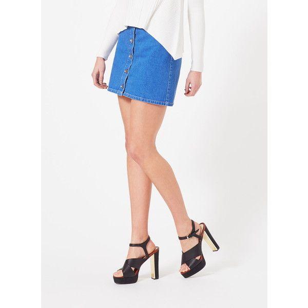 Miss Selfridge Bright Blue Denim Skirt (59,070 KRW) ❤ liked on ...