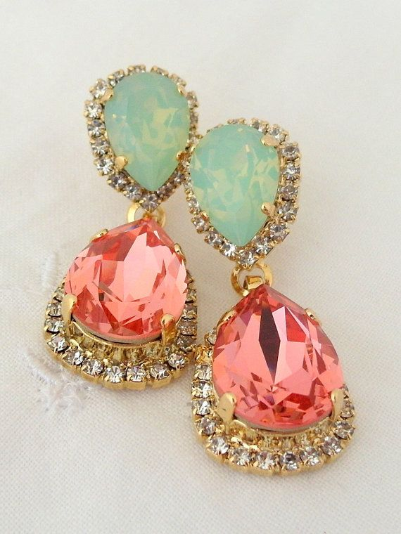 These are just so lovely! Peach pink and mint Chandelier earrings Bridal by EldorTinaJewelry, $84.00