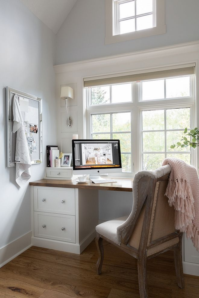 Small Office Built In Desk Paint Color Is Site White By Sherwin