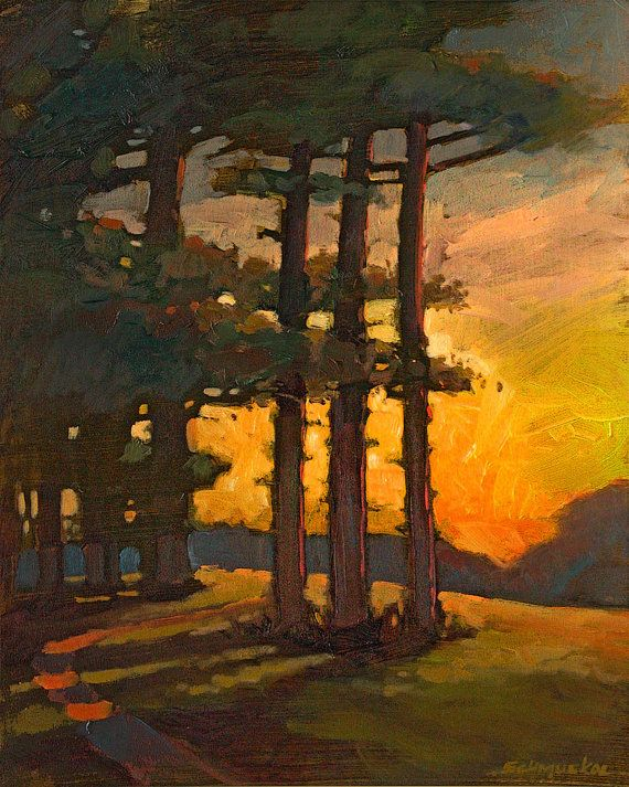 Mission Arts and Crafts CRAFTSMAN Sunset Three Pines - Matted Giclee Art PRINT Vertical 11x14 by Jan Schmuckal